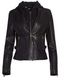 Lamarque Arlette Leather Biker Jacket - Black