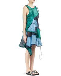 Sacai - Ruffled Patchwork Dress - Lyst