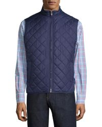Peter Millar Crown Rutherford Diamond Quilted Vest - Blue