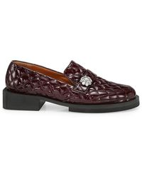 Ganni Jewel-embellished Quilted Patent Loafers - Brown
