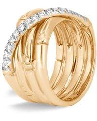 John Hardy Bamboo Diamond & 18k Yellow Gold Ring - Metallic