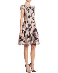 Talbot Runhof - Silk Marble-print Dress - Lyst