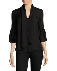 L'Agence - Desa Bow Tie Silk Bell-sleeve Blouse - Lyst