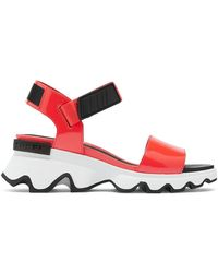Sorel Kinetic Leather Wedge Sport Sandals - Red