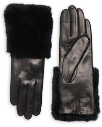 Carolina Amato Rabbit Fur-trim Leather Gloves - Black