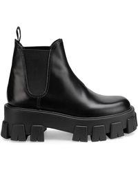 Prada Lug-sole Leather Chelsea Boots - Black