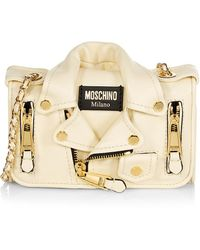 Moschino Biker Jacket Leather Wallet-on-chain - White