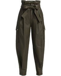 RED Valentino Leather Paperbag Pants - Green