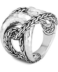 John Hardy Classic Chain Hammered Sterling Ring - Metallic