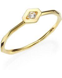 Ron Hami | Rain Diamond & 18k Yellow Gold Hexagon Boutique Ring | Lyst