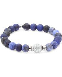 Tateossian - Stonehenge Sterling Silver Mesh Beaded Bracelet - Blue - Size Medium - Lyst