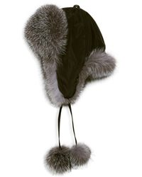 Surell Dyed Fox Fur Trapper Hat - Black