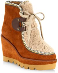 See By Chloé - Klaudia Shearling & Suede Wedge Booties - Lyst