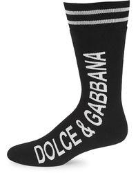 Dolce & Gabbana Vertical Logo Mid-length Socks - Black