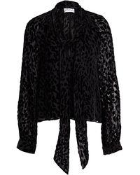 Tanya Taylor Giovanna Sheer Leopard Stretch-silk Tieneck Blouse - Black