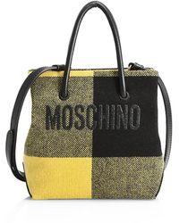 Moschino Logo Mixed-media Tote - Black