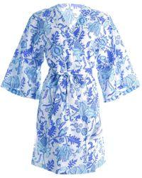 Roberta Roller Rabbit Amanda Paisley Print Kimono Robe - Blue