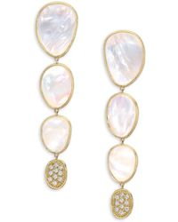 Marco Bicego - Lunaria White Mother-of-pearl & 18k Yellow Gold Drop Earrings - Lyst