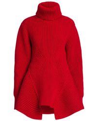 Alexander McQueen Ribbed Peplum Turtleneck Sweater - Red