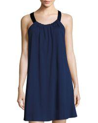 Saks Fifth Avenue - Short Knit Satin-trim Slip - Lyst