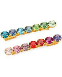 Lelet Rainbow Spectrum Swarovski Crystal Bobbi Pin 2-piece Set - Multicolour