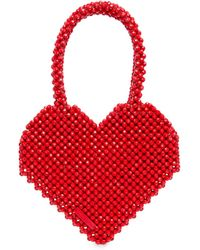 Loeffler Randall Maria Beaded Heart Tote - Red