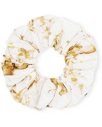Ganni Printed Organic Cotton Poplin Scrunchie - Metallic
