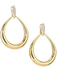 Roberto Coin 18k Yellow Gold Diamond Teardrop Earrings - Metallic