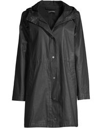 Eileen Fisher Waxed Organic Cotton Hooded Coat - Black