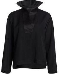 Brandon Maxwell Duchesse Satin Collar Tunic - Black