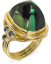 Temple St. Clair 18k Yellow Gold, Green Tourmaline & Blue Sapphire Classic Sugar Loaf Ring - Metallic