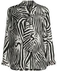 Misook Zebra-print Blouse - Black