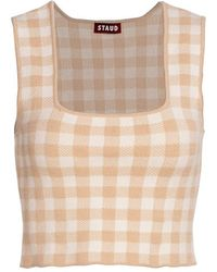 STAUD Trial Gingham Cropped Top - Natural
