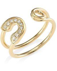 Sydney Evan Diamond & 14k Yellow Gold Safety Pin Wrap Ring - Metallic