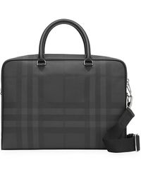 Burberry Large London Check And Leather Briefcase - Multicolor