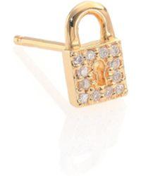 Sydney Evan | Diamond & 14k Yellow Gold Lock Single Stud Earring | Lyst
