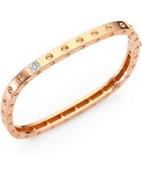 Roberto Coin - Pois Moi Diamond And 18k Rose Gold Single-row Bangle Bracelet - Lyst