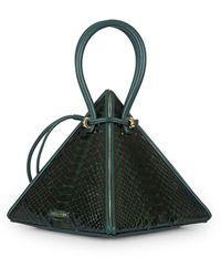 Nita Suri Lia Pyramid Python Top Handle Bag - Green