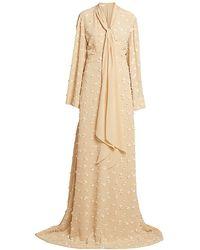 Chloé Floral Appliqué Flutter-sleeve Silk Gown - Natural