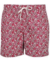 Barbour Crescent Floral Swim Trunks - Red