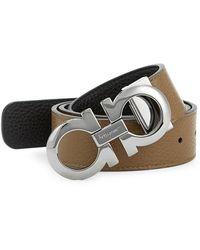 Ferragamo Adjustable & Reversible Gancini Leather Belt - Brown