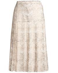 Brochu Walker Rovena Mixed Animal Print Pleated Midi Skirt - Natural