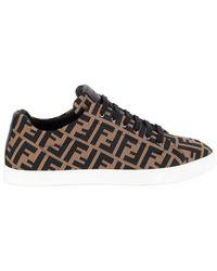 Fendi Ff Motif Mesh Sneakers - Brown