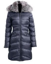 Dawn Levy Cloe Lace-up Fox Fur Puffer Coat - Blue