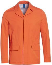 Saks Fifth Avenue Collection Notch Collar Rain Coat - Orange