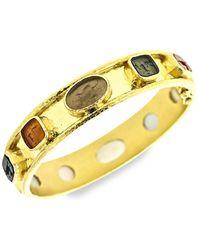 Elizabeth Locke Venetian Glass Intaglio 19k Yellow Gold Narrow Bangle Bracelet - Metallic