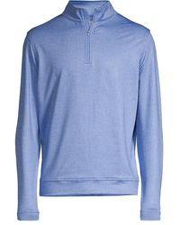 Peter Millar Perth Stitch Performance Quarter-zip Sweatshirt - Blue