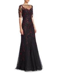 Teri Jon - Short-sleeve Lace Applique A-line Gown - Lyst