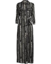 L'Agence Cameron Chain Print Tie Shirtdress - Black