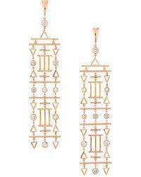 Etho Maria Geometric 18k Rose Gold & Brown Diamond Chandelier Earrings - Metallic
